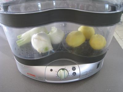 Crevettes flambées et sa sauce au citron et sa purée de fenouil - 4.2