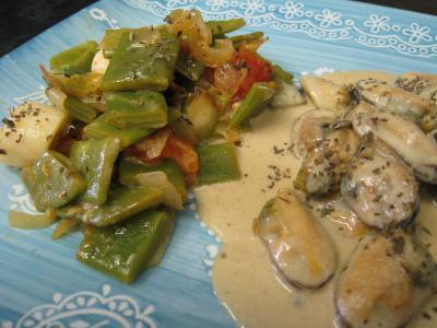 Recette Assiette de moules crèmées aux haricots plats