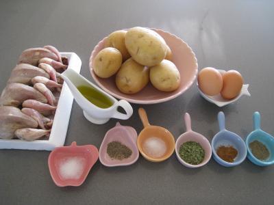 Ingrédients pour la recette : Caille rôtie et son nid de Pâques