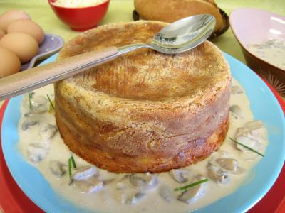 coriandre graines : Pouding à la mozzarella et sa sauce aux champignons
