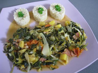 chou blanc : Assiette de brèdes cresson et mangue à la mauricienne