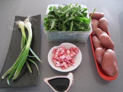 Ingrédients pour la recette : Salade de pissenlits au lard à l'ardennaise