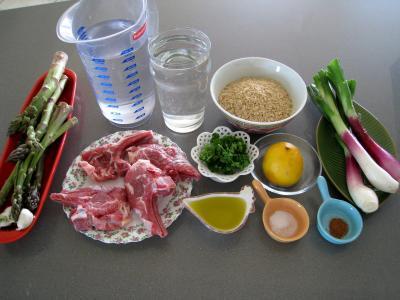 Ingrédients pour la recette : Ognasses au riz, asperges et agneau pour diabétiques