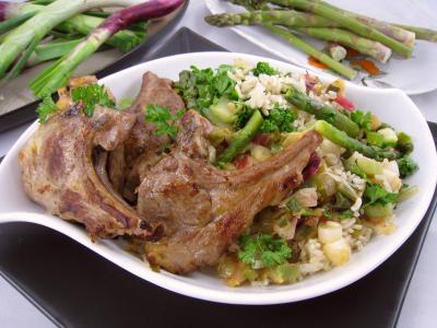 Cuisine diabétique : Assiette d'ognasses au riz, asperges et agneau