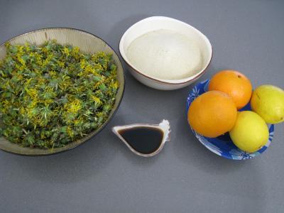 Ingrédients pour la recette : Gelée ou cramaillote de fleurs de pissenlits