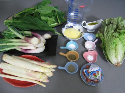 Ingrédients pour la recette : Polenta aux ognasses, aux épinards et aux asperges