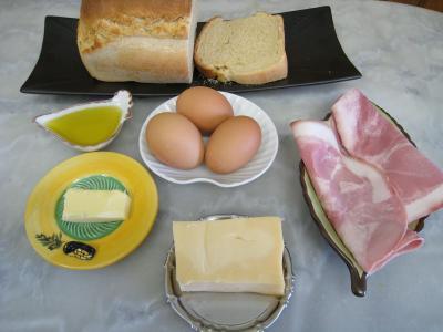 Ingrédients pour la recette : Tartines à l'oeuf et au gruyère