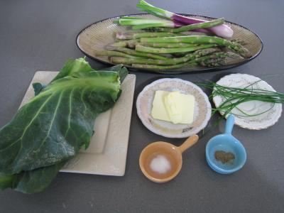 Ingrédients pour la recette : Sauté d'asperges, de chou et d'ognasses