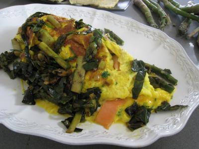 Recette Omelette d'asperges au chou et aux ognasses