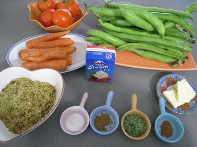 Ingrédients pour la recette : Sauté de carottes et fèves à la semoule
