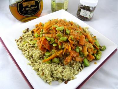 Recette Sauté de carottes et fèves à la semoule