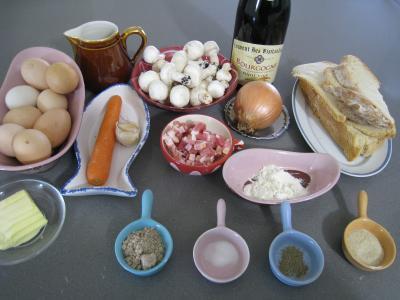 Ingrédients pour la recette : Oeufs en meurette façon bourguignonne