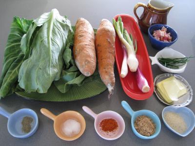 Ingrédients pour la recette : Sauté de chou pointu aux patates douces
