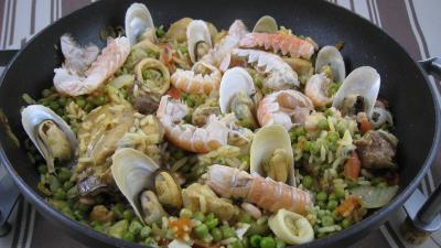 safran : assiette de paella à la valenciana