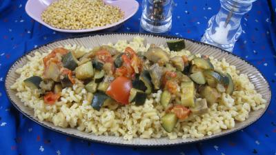 Recette Assiette d'aubergines aux épices et ses coquillettes