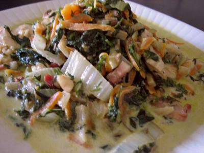 Image : Plat de blancs de poulet aux fanes de carottes