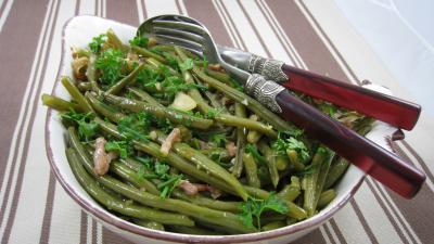 Recette Haricots verts aux lardons
