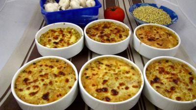 blé : Cassolettes de blé gratiné aux tomates et à la mozzarella