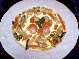 céleri-rave : Assiette de blanquette de coquilles saint-Jacques