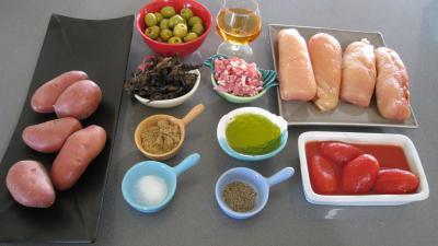 Ingrédients pour la recette : Blancs de poulet bastiaise façon Corse