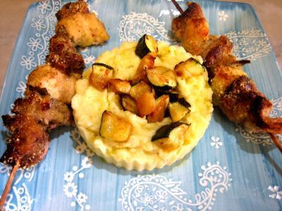 Recette Assiette de brochettes de foie de veau aromatiques