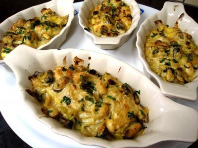 Recette Cassolettes de moules et polenta au boursin
