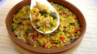 Recette Sauté de dinde au blé et aux poivrons