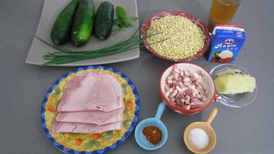 Ingrédients pour la recette : blé en cassolettes aux courgettes