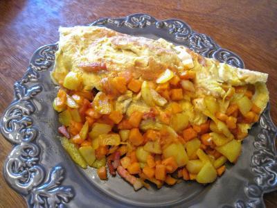 Image : recette Omelette au potimarron et au chèvre