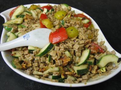 Salade végétarienne aux crozets et aux mirabelles - 7.4