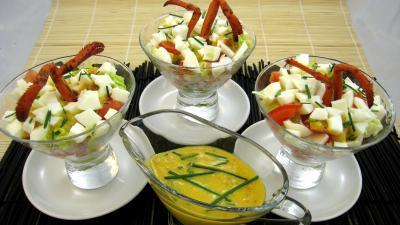 Recette Verrines de homard en salade