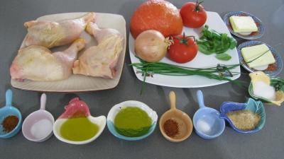 Ingrédients pour la recette : Cuisses de poulet et potiron pour Halloween