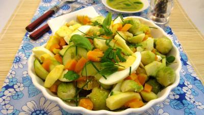 Entrée alcoolisée : Salade de potiron et choux de Bruxelles