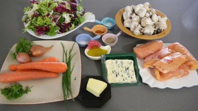 Ingrédients pour la recette : Blancs de poulet en papillotes aux herbes aromatiques et au roquefort