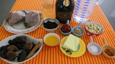 Ingrédients pour la recette : Perdrix au miel et aux fruits secs