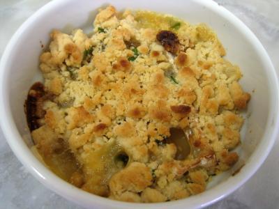 Recette Crumble de camembert et sa salade