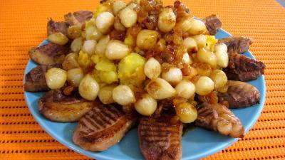 oignon grelot : Potimarron et pommes de terre aux oignons confits
