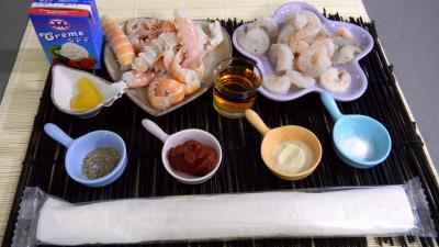 Ingrédients pour la recette : Feuilletés de langoustines et de crevettes