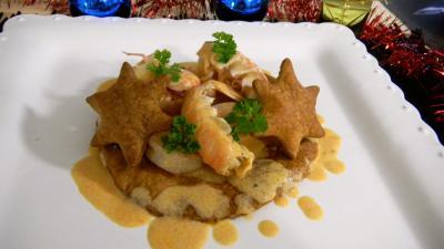 Image : Assiette de feuilletés de langoustines et crevettes