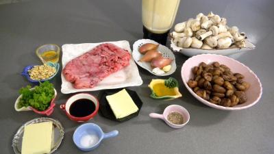 Ingrédients pour la recette : Crêpes aux ris de veau, châtaignes et champignons