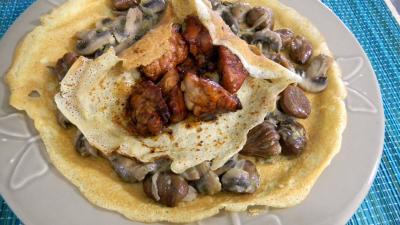 Recette Crêpes aux ris de veau, châtaignes et champignons