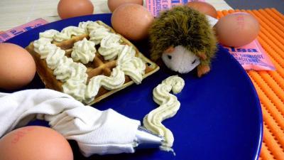Image : Assiette de gaufre à la crème de pistaches