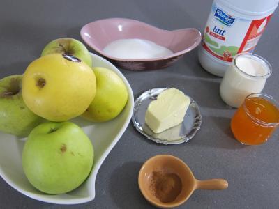 Ingrédients pour la recette : Pommes caramélisées au yaourt