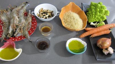 Ingrédients pour la recette : Riz minceur aux crevettes