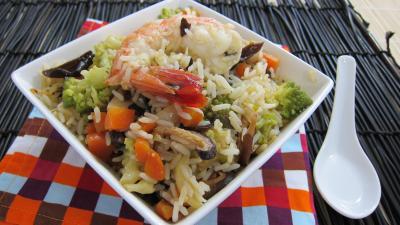 minceur : Assiette de riz minceur aux crevettes