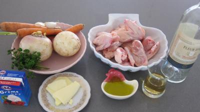 Ingrédients pour la recette : Ailerons de poulets sautés aux navets