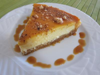 Desserts fromage blanc : Tranche de cheese cake au caramel