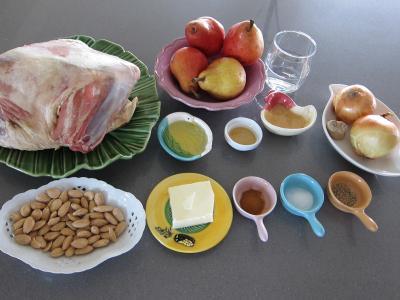 Ingrédients pour la recette : Epaule d'agneau aux poires et à la cannelle