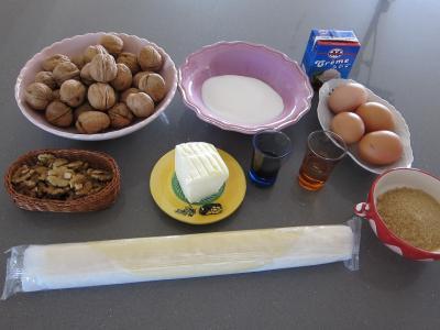 Ingrédients pour la recette : Tarte aux noix à la vanille