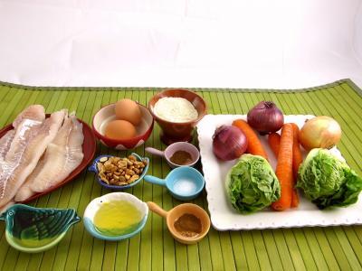 Ingrédients pour la recette : Cabillaud aux cacahuètes et aux légumes